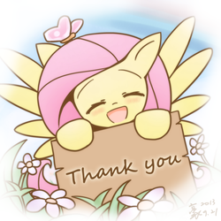Size: 2362x2362 | Tagged: artist:howxu, blushing, butterfly, cute, :d, eyes closed, female, flower, fluttershy, happy, howxu is trying to murder us, mare, open mouth, pegasus, pony, safe, shyabetes, sign, smiling, solo, thank you, weapons-grade cute