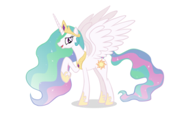 Size: 11736x8223 | Tagged: absurd res, artist:selenophile, princess celestia, raised hoof, safe, simple background, smiling, solo, transparent background, vector