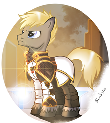 Size: 1378x1536 | Tagged: safe, artist:ruhisu, oc, oc only, earth pony, pony, armor, city, cityscape, clothes, commission, conflict, frown, glare, gold, male, officer, science fiction, serious, soldier, solo, stallion, stars, uniform