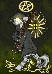 Size: 700x1000   Tagged: safe, artist:coppahhead, zecora, zebra, cloak, clothes, lantern, pentagram, staff, tarot, tarot card