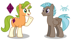 Size: 6000x3437   Tagged: safe, artist:masem, idw, 8-bit (character), gaffer, pegasus, pony, unicorn, 8-bit, absurd resolution, coat markings, cutie mark, duo, idw showified, male, simple background, socks (coat marking), stallion, transparent background, vector