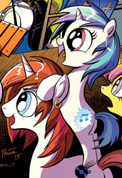 Size: 485x710   Tagged: safe, artist:andypriceart, idw, 33 1-3 lp, dj pon-3, gaffer, long play, sweetcream scoops, vinyl scratch, pony, unicorn, neigh anything, spoiler:comic, spoiler:comic11, background pony, cutie mark, cutiespark, ear piercing, earring, female, filly, happy, jewelry, male, mare, official, piercing, stallion