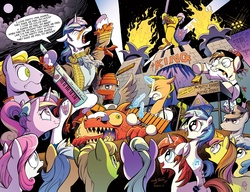 Size: 2080x1600 | Tagged: safe, artist:andypriceart, idw, 33 1-3 lp, 8-bit (character), buck withers, diamond rose, dj pon-3, gaffer, gizmo, lemony gem, long play, observer (character), princess cadance, shining armor, sweetcream scoops, vinyl scratch, alicorn, earth pony, pegasus, pony, unicorn, neigh anything, spoiler:comic, spoiler:comic11, 80s, adam ant, andy you magnificent bastard, boy george, cowbell, cutiespark, danny elfman, devo, drum kit, drums, energy dome, female, ferris bueller's day off, filly, filly vinyl scratch, frankie goes to hollywood, keytar, little girls, lyrics, male, musical instrument, new wave, official, oingo boingo, revenge of the nerds, song reference, spread wings, stallion, teary eyes, the mystic knights of the electric stable, unnamed character, unnamed pony, wings