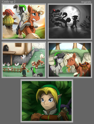Size: 1181x1550 | Tagged: artist:angerelic, comic, crossover, cucco, derpy hooves, earth pony, epona, female, kakariko village, link, mare, octavia melody, ponies riding ponies, ponified, pony, safe, the legend of zelda