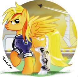 Size: 1546x1534 | Tagged: airfield, amputee, artist:ruhisu, captain, clothes, handsome, jet fighter, looking at you, male, military, oc, oc:brave wing, oc only, pegasus, pilot, plane, pony, prosthetic limb, prosthetics, raised hoof, runway, safe, smiling, smirk, soldier, solo, spread wings, stallion, standing, sunset, tower, uniform
