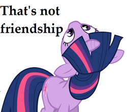 Size: 617x544 | Tagged: safe, twilight sparkle, the crystal empire, female, friendship, image macro, juxtaposition bait, looking up, meme, reaction image, solo, text, that's not friendship, upside down