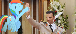Size: 617x276 | Tagged: bashar al-assad, high five, irl, photo, ponies in real life, rainbow dash, safe, syria