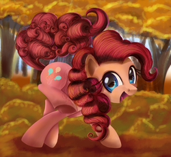Size: 894x819 | Tagged: safe, artist:ailatf, pinkie pie, earth pony, pony, autumn, cute, detailed, diapinkes, featured image, female, happy, looking at you, mare, open mouth, raised leg, smiling, solo, underhoof