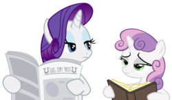 Size: 1537x895 | Tagged: safe, edit, rarity, sweetie belle, book, implied facehoof, newspaper, rarity is not amused, reaction image, reading, simple background, sisters, sweetie belle is not amused, transparent background, unamused, vector