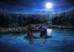 Size: 3507x2480 | Tagged: safe, artist:audrarius, applejack, rarity, dark, female, forest, lesbian, moon, night, rarijack, scenery, shipping, tree, water, waterfall, wet, wet mane, wet mane rarity