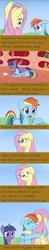 Size: 500x2568   Tagged: safe, artist:celerypony, fluttershy, rainbow dash, twilight sparkle, pegasus, pony, unicorn, book, comic, crying, eyes closed, floppy ears, hug, looking at you, lying, lying down, open mouth, pouting, prone, sad, smiling, talking, tongue out, unicorn twilight