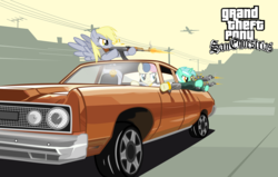 Size: 12000x7626 | Tagged: dead source, safe, artist:medio-cre, bon bon, derpy hooves, lyra heartstrings, sweetie drops, pegasus, pony, absurd resolution, ak-47, badass, blackletter, bling, car, clothes, crossover, drive-by, driving, dual wield, female, grand theft auto, gta san andreas, gun, mare, micro uzi, muffin, parody, plane, ponified, shooting, vector, video game, who needs trigger fingers