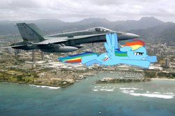 Size: 900x598 | Tagged: safe, artist:cplhenderson, rainbow dash, f/a-18 hornet, fighter, flying, irl, jet, jet fighter, military, oahu, photo, plane, ponies in real life, race, rcaf, rimpac 2006, royal canadian air force