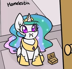 Size: 600x577 | Tagged: safe, artist:slavedemorto, princess celestia, female, frown, homeless, looking at you, pun, sitting, solo