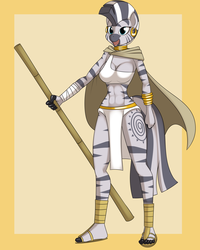 Size: 4800x6000 | Tagged: safe, artist:hivelordlusa, artist:kloudmutt, edit, zecora, anthro, plantigrade anthro, zebra, abs, abstract background, absurd resolution, belly button, breasts, busty zecora, cleavage, cloak, clothes, feet, female, loincloth, midriff, ponyrumi, robe, sandals, solo, staff