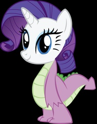 Size: 1706x2164   Tagged: safe, rarity, spike, abomination, body swap, fusion, head swap, vector, wat, what has science done