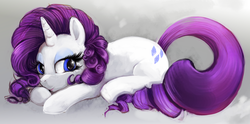Size: 1636x811 | Tagged: safe, artist:r0b0tassassin, rarity, pony, unicorn, female, looking at you, looking back, looking back at you, mane, prone, solo, sparkly eyes