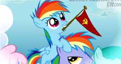 Size: 511x271 | Tagged: edit, filly, flag, mouth hold, rainbow blaze, rainbow dash, safe, soviet, soviet union, younger