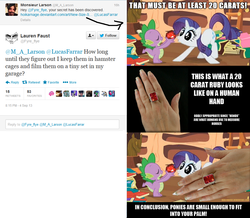 Size: 962x838 | Tagged: book, hand, image macro, lauren faust, m.a. larson, micro, rarity, ruby, safe, size, size chart, size comparison, source needed, spike, text, twitter, useless source url