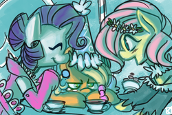 Size: 2100x1400   Tagged: safe, artist:fauxsquared, applejack, fluttershy, rarity, earth pony, pegasus, pony, unicorn, 420, :t, annoyed, clothes, cup, dress, eyes closed, fancy, female, floral head wreath, flower, food, froufrou glittery lacy outfit, get, glare, grumpy, hat, hennin, index get, leaning, mare, open mouth, princess hat, sitting, smiling, table, tea, tea party, teacup, unamused