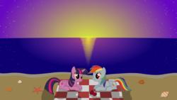Size: 1920x1080 | Tagged: safe, artist:galekz, rainbow dash, twilight sparkle, alicorn, pony, apple, beach, beach blanket, female, lesbian, mare, ocean, shipping, sunset, twidash, twilight sparkle (alicorn)