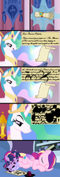 Size: 1200x3480 | Tagged: safe, artist:beavernator, princess cadance, princess celestia, twilight sparkle, alicorn, pony, unicorn, baby, baby pony, babylight sparkle, beavernator is trying to murder us, celestia is not amused, comic, cute, cutedance, diaper, duo, duo female, eyes closed, female, frown, grin, hnnng, ink, inkwell, letter, messy, mouth hold, open mouth, prone, quill, raised eyebrow, reading, scroll, sleeping, smiling, solo, twiabetes, unamused, unicorn twilight, vector, younger