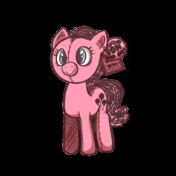 Size: 500x500 | Tagged: safe, artist:strabarybrick, pinkie pie, c:, piggie pie, plushie, poni, ponk, simple background, smiling, solo, toy, transparent background