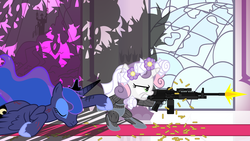 Size: 6400x3600 | Tagged: safe, artist:beavernator, princess luna, sweetie belle, alicorn, changeling, pony, assault rifle, bipedal, crysis, eyes closed, floral head wreath, glare, gritted teeth, gun, holding hooves, hoof hold, injured, m249, machine gun, nanosuit, ponies with guns, prone, pulling, rifle, shooting, sweetie bot, teeth, weapon