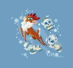 Size: 1481x1377 | Tagged: safe, artist:lauren faust, velvet reindeer, deer, reindeer, winter sprite, them's fightin' herds, blue background, community related, lauren faust, simple background, snow, snowflake