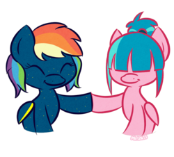 Size: 700x634 | Tagged: safe, artist:prettykitty, oc, oc only, oc:star charmer, oc:starborne, pegasus, pony, duo, female, hoofbump, mare, ponytail, rainbow hair, simple background, transparent background