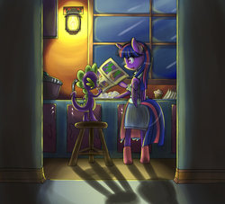 Size: 1100x1000 | Tagged: safe, artist:luciferamon, spike, twilight sparkle, pony, semi-anthro, bipedal, cleaning, clothes, comic book, dishes, door, kitchen, muffin, slice of life, twilight sparkle (alicorn)