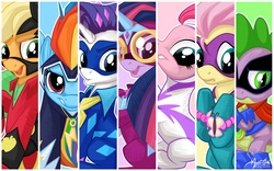Size: 2560x1600 | Tagged: action poster, alicorn, applejack, artist:mysticalpha, female, fili-second, fluttershy, humdrum, line-up, mane seven, mane six, mare, masked matter-horn, mistress marevelous, pinkie pie, pony, power ponies, power ponies (episode), radiance, rainbow dash, rarity, saddle rager, safe, spike, twilight sparkle, twilight sparkle (alicorn), wallpaper, zapp
