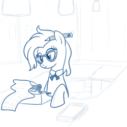 Size: 600x600 | Tagged: artist:hudoyjnik, artist:synch-anon, glasses, grace manewitz, pencil, rarity takes manehattan, safe, season 4, sketch, solo, typewriter