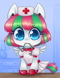 Size: 500x651 | Tagged: artist:bunnini, ask filly blossomforth, blossomforth, cute, female, filly, filly blossomforth, nurse, safe, solo