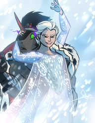 Size: 788x1024 | Tagged: safe, artist:bgn, king sombra, anthro, blizzard, cape, clothed female nude male, clothes, confused, crossover, crossover shipping, elsa, elsombra, female, frozen (movie), grin, male, snow, snowfall, straight