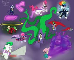 Size: 2000x1621 | Tagged: safe, artist:dutchgirl626, artist:rosieu, applejack, fili-second, fluttershy, humdrum, mane-iac, masked matter-horn, mistress marevelous, neon brush, pinkie pie, radiance, rainbow dash, rarity, saddle rager, spike, twilight sparkle, zapp, alicorn, pony, female, flutterhulk, glowing eyes, henchmen, magic, mane six, mare, power ponies, twilight sparkle (alicorn)