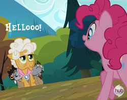 Size: 598x470 | Tagged: safe, goldie delicious, pinkie pie, cat, earth pony, pony, siamese cat, pinkie apple pie, animal, crazy cat lady, female, goldie delicious' cats, mare, saddle bag, the hub
