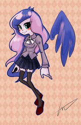 Size: 1129x1741 | Tagged: safe, artist:lessue, princess luna, equestria girls, alternate costumes, floating wings, pixiv, solo, wings