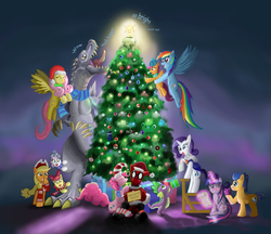 Size: 2200x1900 | Tagged: safe, artist:mr-darkblade, apple bloom, applejack, derpy hooves, flash sentry, fluttershy, pinkie pie, rainbow dash, rarity, scootaloo, spike, sweetie belle, twilight sparkle, alicorn, kaiju, pony, apple bloom the shipper, assassin's creed, blushing, captain america, christmas, crossover, crossover shipping, cutie mark crusaders, dead space, deadpool, doctor who, doge, female, flashlight, godzilla, godzilla (series), godzilla junior, hat, holiday, male, mane seven, mane six, mare, marker (dead space), mass effect, normandy, pinkiepool (pairing), pokémon, ponified, santa hat, shipper on deck, shipping, spider-man, straight, sweetie the shipper, tardis, twilight sparkle (alicorn)