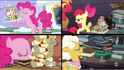 Size: 958x539   Tagged: safe, screencap, apple bloom, big macintosh, goldie delicious, pinkie pie, earth pony, pony, hearth's warming eve (episode), pinkie apple pie, book, comparison, dust cat, female, filly, gingerbread house, hearth's warming eve, image macro, in which pinkie pie forgets how to gravity, jenga, male, mare, meme, pinkie being pinkie, pinkie physics, scroll, stallion