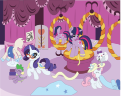 Size: 3117x2401 | Tagged: safe, artist:the-paper-pony, opalescence, rarity, spike, sweetie belle, twilight sparkle, unicorn, carousel boutique, commission, cute, hat, mannequin, mirror, reflection, ribbon, slave, sleeping, unicorn twilight