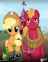 Size: 1152x1479 | Tagged: safe, artist:wolfjedisamuel, applejack, big macintosh, earth pony, pony, american gothic, apple jacks, fine art parody, male, mcdonald's, namesake, pun, stallion