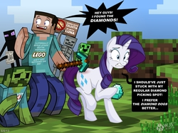 Size: 2113x1582   Tagged: safe, artist:wolfjedisamuel, rarity, enderman, human, pony, unicorn, zombie, bone, crawling, creeper, crossover, cutie mark, dialogue, diamond, diamond pickaxe, english, female, grass, gritted teeth, holding, hoof hold, left 4 dead, lego, literal butthurt, male, mare, minecraft, mining, ouch, outdoors, pain, paper, pickaxe, raised arm, raised hoof, sign, skeleton, smiling, speech bubble, standing, startled, steve, text, video game, yelling