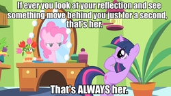 Size: 960x540   Tagged: safe, edit, edited screencap, screencap, pinkie pie, twilight sparkle, green isn't your color, doctor who, duo, image macro, mirror, pinkie being pinkie, pinkie physics, potted plant, quote