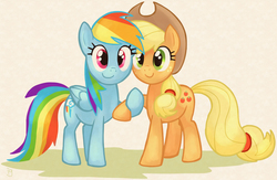 Size: 1232x801 | Tagged: appledash, applejack, artist:igriega13, female, holding hooves, lesbian, rainbow dash, safe, shipping
