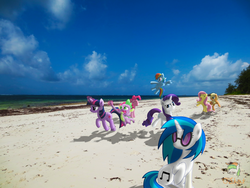 Size: 4608x3456 | Tagged: safe, artist:ojhat, applejack, derpy hooves, dinky hooves, dj pon-3, fluttershy, pinkie pie, rainbow dash, rarity, spike, twilight sparkle, vinyl scratch, earth pony, pegasus, pony, unicorn, beach, eyes closed, female, flying, glowing horn, grin, hooves, horn, irl, levitation, magic, mane seven, mane six, mare, ocean, open mouth, photo, ponies in real life, raised hoof, shadow, sitting, smiling, spread wings, standing, sunglasses, telekinesis, vector, wings