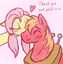 Size: 990x1000 | Tagged: safe, artist:marindashy, big macintosh, fluttershy, earth pony, pony, alternate hairstyle, fluttermac, fluttershy answers, kiss on the cheek, kissing, male, shipping, stallion, straight, thank you, tumblr