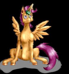 Size: 2500x2680 | Tagged: safe, artist:stormcrow-42, scootaloo, alicorn, pony, alicornified, hooves, ice cream, race swap, scootacorn, solo, unamused, unshorn fetlocks