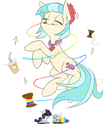 Size: 500x580 | Tagged: dead source, safe, artist:rice, coco pommel, rarity, earth pony, pony, unicorn, angry, cross-popping veins, crying, cute, drink, eyes closed, featured image, female, floppy ears, mare, mouth hold, needle, rainbow thread, simple background, smiling, stuck, thread, tied up, white background, wide eyes, wrapped up