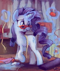 Size: 594x700 | Tagged: safe, artist:sophiesplushies, rarity, pony, unicorn, fabric, female, glasses, magic, mare, measuring tape, messy mane, mouth hold, needle, obtrusive watermark, pincushion, pins, rarity's glasses, sewing, sewing machine, solo, telekinesis, thread, watermark, working